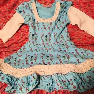 Jelly the Pug Toddler Blue Floral Dress Size 4T